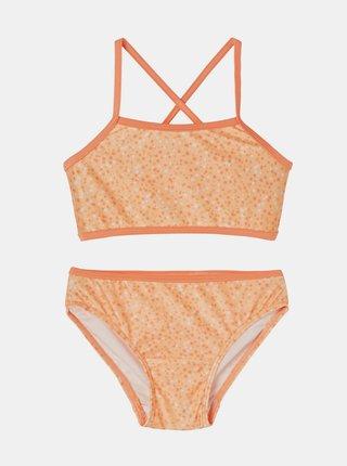 Oranžové holčičí vzorované dvoudílné plavky name it Felisia