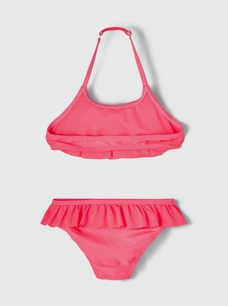 Růžové holčičí dvoudílné plavky s volány name it Fini