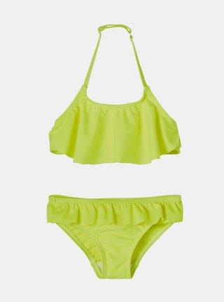 Neonově žluté holčičí dvoudílné plavky s volány name it Fini