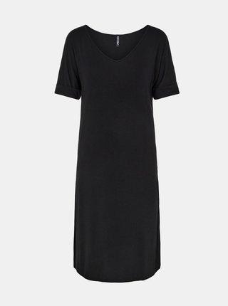 Černé šaty s rozparky Pieces Neora