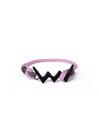Růžový dámský lankový náramek s čeným logem Vuch- Loopy Black