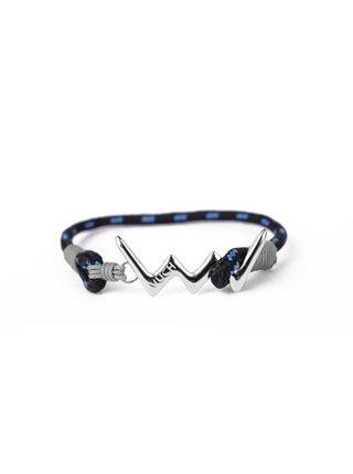 Modrý dámský lankový náramek se střibrným logem Vuch- Miva Silver