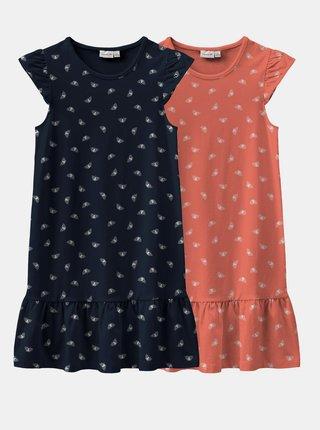 Sada dvou holčičích vzorovaných šatů v oranžové a modré barvě name it Vida