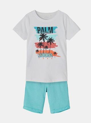 Sada klučičího trička a kraťasů v modro-bílé barvě name it Vigano