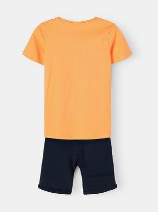 Sada klučičího trička a kraťasů v modro-oranžové barvě name it Vigano