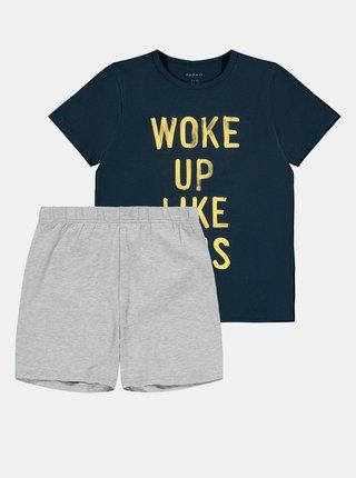 Šedo-modré klučičí pyžamo s potiskem name it