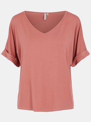 Růžové volné tričko Pieces Neora