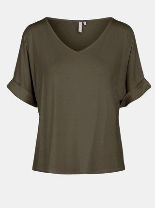 Khaki volné tričko Pieces Neora