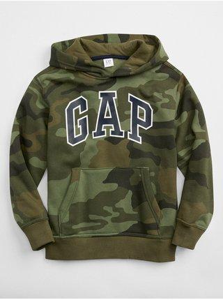 Khaki klučičí dětská mikina GAP Logo camo pullover hoodie