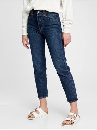 Modré dámské džíny GAP high rise cheeky straight jeans with Washwell