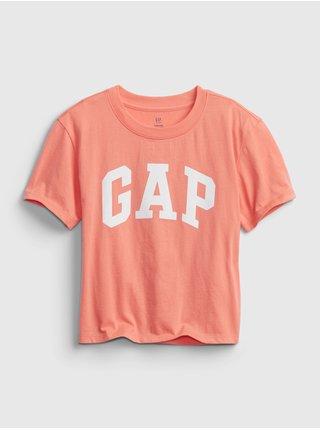 Oranžové holčičí dětské tričko GAP Logo short sleeve t-shirt