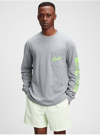 Šedé pánské tričko GAP Logo t-shirt