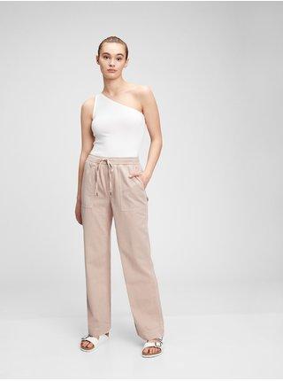 Béžové dámské kalhoty rib combo pull-on wide leg