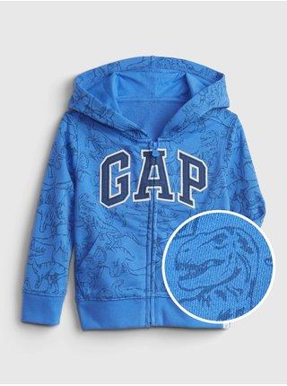 Modrá klučičí dětská mikina GAP Logo dinosaur graphic hoodie