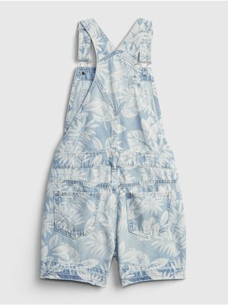 Modré holčičí dětské kraťasy s laclem palm print shortall