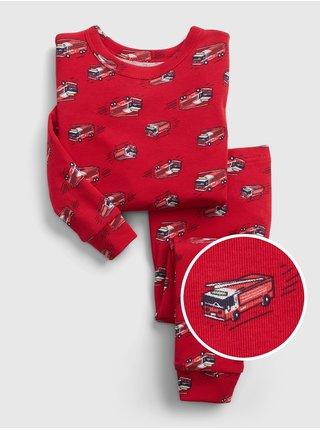 Červené klučičí dětské pyžamo 100% organic cotton fire truck pj set