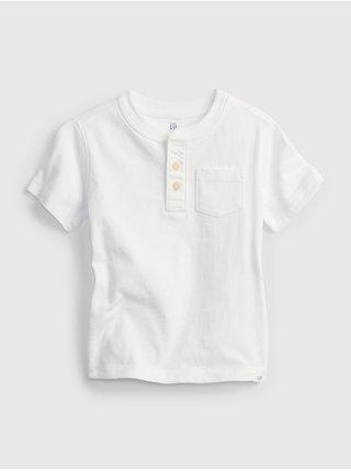Bílé klučičí dětské tričko henley vin