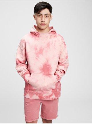 Růžová klučičí dětská mikina dip-dye hoodie