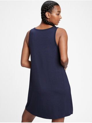 Modré dámské šaty GAP sleeveless rayon swing dress
