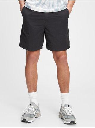 Černé pánské kraťasy 7 easy linen shorts with e-waist