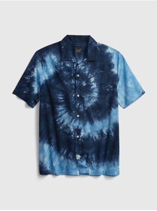 Modrá pánská košile short sleeve camp collar