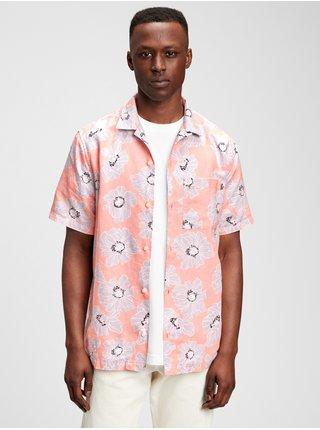 Růžová pánská košile short sleeve camp collar