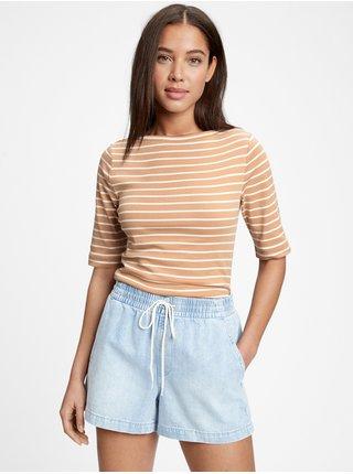 Béžové dámské tričko short sleeve boatneck