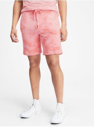 Růžové pánské kraťasy GAP Logo tie-dye pull-on shorts