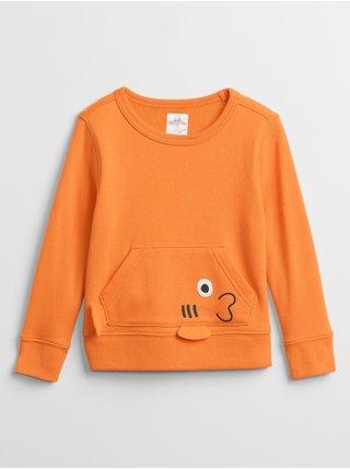 Oranžová klučičí dětská mikina graphic crewneck sweatshirt