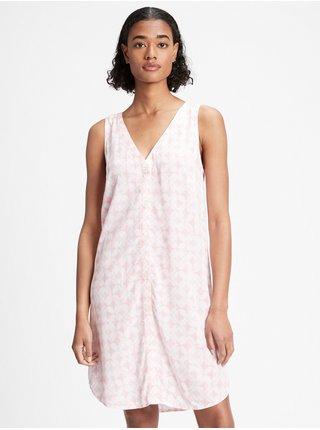 Růžové dámské šaty GAP sleeveless button-front shift dress