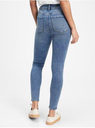 Modré dámské džíny high rise distressed legging jeans with Washwell GAP