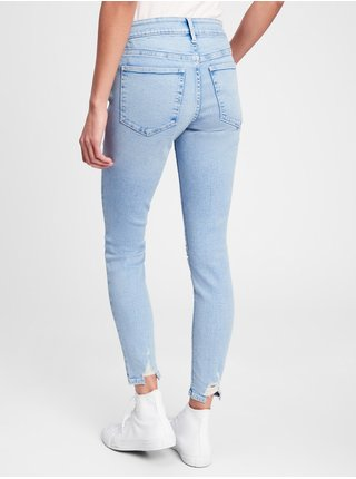 Modré dámské džíny mid rise distressed universal legging jeans with Washwell GAP