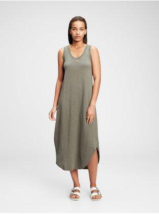 Zelené dámské šaty scoopneck sleeveless midi dress GAP