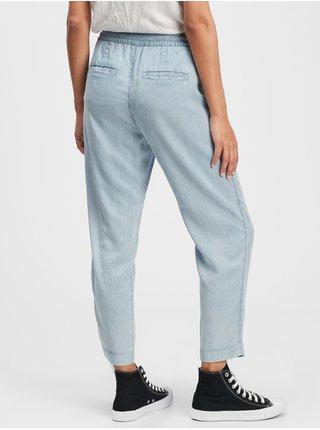Modré dámské kalhoty easy straight pull-on pants GAP