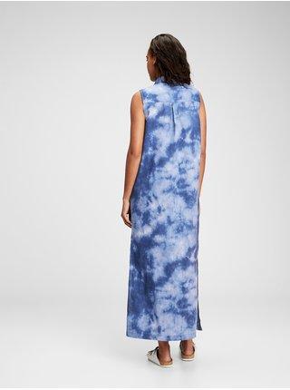 Modré dámské šaty GAP sleeveless linen maxi tie dye shirtdress