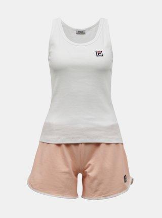 Oranžovo-biele dámske krátke pyžamo FILA