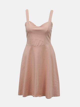 Svetloružové šaty na ramienka Pieces Ang