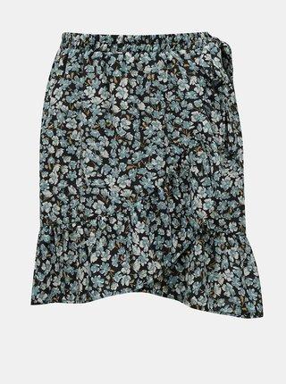 Modrá květovaná zavinovací sukně ONLY-Fuchsia