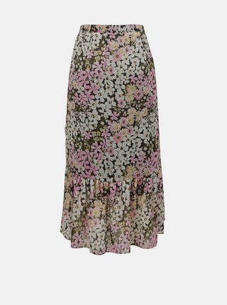 Růžovo-zelená květovaná midi sukně ONLY Pine