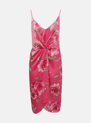 Růžové květované šaty na ramínka VILA Alberte