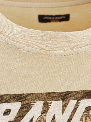 Béžové tričko s potlačou Jack & Jones Anglo