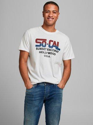 Bílé tričko s potiskem Jack & Jones Enrique