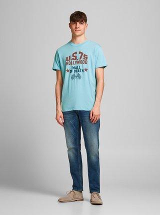 Modré tričko s potiskem Jack & Jones Enrique