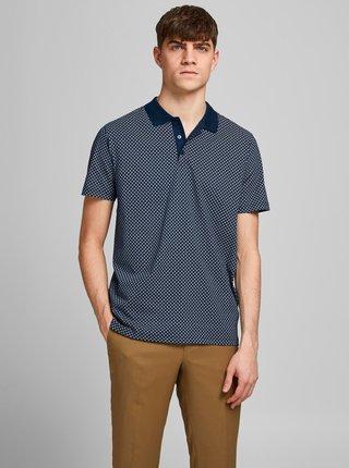 Tmavě modré vzorované polo tričko Jack & Jones