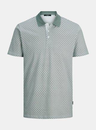 Zeleno-bílé vzorované polo tričko Jack & Jones