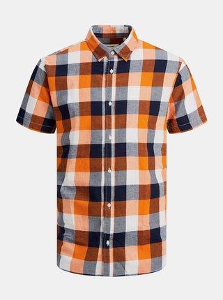 Kockované pre mužov Jack & Jones - oranžová