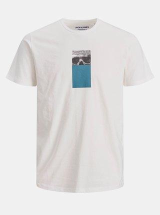 Biele tričko s potlačou Jack & Jones Vision