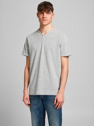 Šedé tričko s gombíkmi Jack & Jones Alfredo
