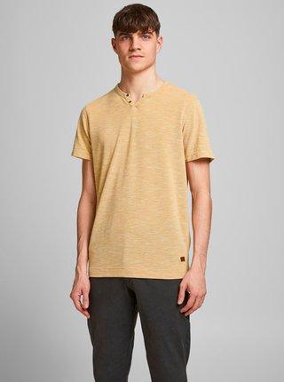 Žluté tričko s knoflíky Jack & Jones Alfredo
