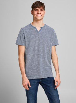 Modré tričko s gombíkmi Jack & Jones Alfredo